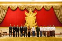 Group photo in the presence of: U Thein Sein, 7th from the right, Catherine Ashton, 6th from the left, Roland Kobia, Head of the Delegation of the EU to Myanmar/Burma, 5th from the left, David O'Sullivan, Chief Operating Officer of the European External Action Service (EEAS), 4th from the left, Viorel Isticioaia Budura, Managing Director for Asia and the Pacific in the EEAS, 3rd from the left, and Miguel Ceballos Baron, Member of cabinet of Catherine Ashton, 1st from the left