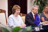 Catherine Ashton, on the left, and Viorel Isticioaia Budura, Managing Director for Asia and the Pacific in the European External Action Service (EEAS), in the centre