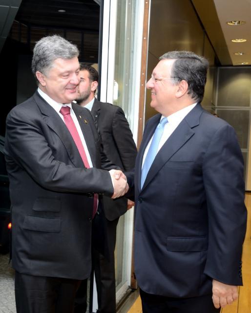 "Illustration of ""José Manuel Barroso receives Petro Porochenko, President of Ukraine"""