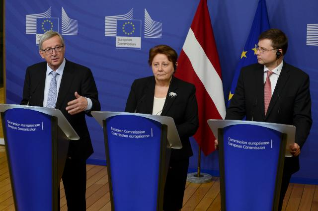Joint press conference by by Laimdota Straujuma, Latvian Prime Minister, Jean-Claude Juncker, President of the EC, and Valdis Dombrovskis, Vice-President of the EC