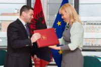"""Illustration of """"Signature of the Agreement formalising the entry of Albania in the COSME programme by Elżbieta Bieńkowska,..."""
