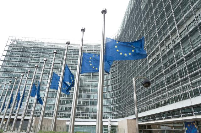 """Illustration of """"European flags at half-mast in front of the Berlaymont building"""""""
