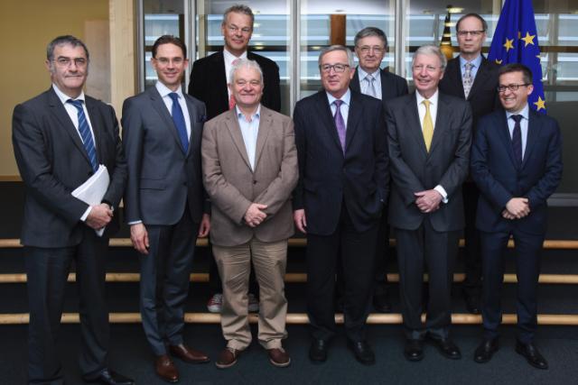Jean-Claude Juncker, Jyrki Katainen and Carlos Moedas receive Nobel Prize Winners