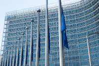 European flags fly at half-mast to pay tribute to the victims of  the earthquake in Italy