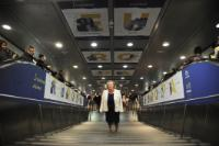 Visual elements for the 60th anniversary of the Treaty of Rome, at Termini metro station, in Rome