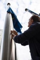 European flags fly at half-mast in in front of the Berlaymont building in solidarity with the victims of the collapse of the Morandi bridge in Genoa, Italy