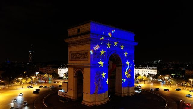 Illumination of the Arc de Triomphe on May 9, on the occasion of Europe Day 2018