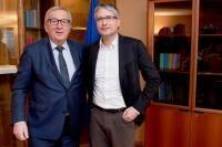 Jean-Claude Juncker, President of the EC, receives Sven Giegold, Member of the European Parliament