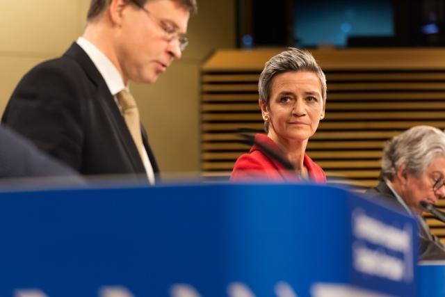 Valdis Dombrovskis, Margrethe Vestager,  Thierry Breton