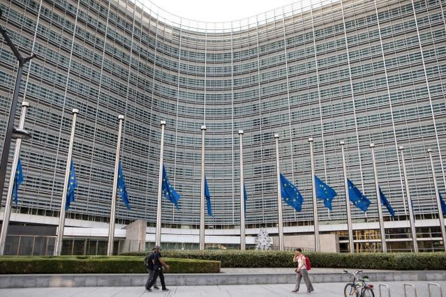 European flags fly at half-mast in solidarity with the victims of the forest fires in Greece