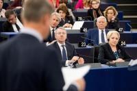 Andrus Ansip, Vice-Président de la CE, s'exprime devant la plénière du Parlement européen à l'occasion du lancement de la présidence roumaine du Conseil de l'UE