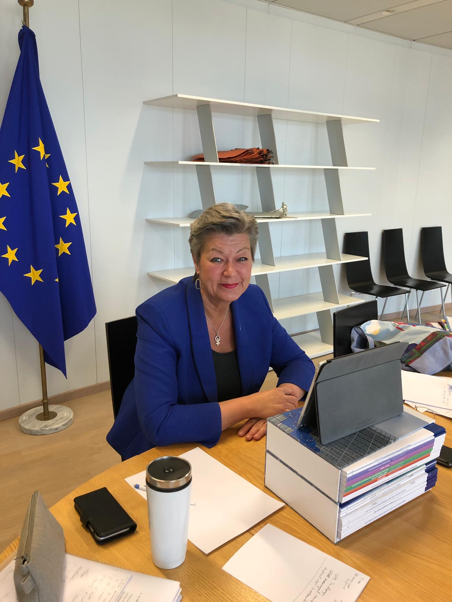 Photo Commissioner Johansson videoconference european parliament LIBE Committee 2 April 2020