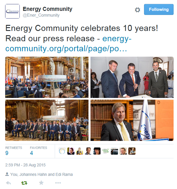 10th anniversary of the Energy Community; Vienna
