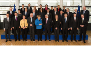 Group photo of the College of Commissioners with Chancellor Merkel