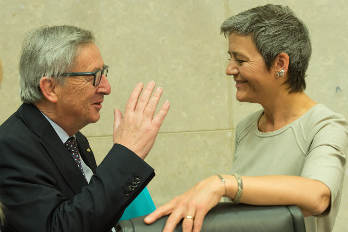 President Juncker and Commissioner Vestager during the weekly College meeting