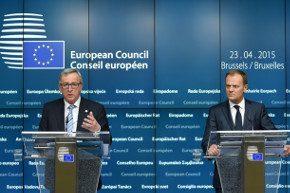 President Juncker and President Tusk during the post-Council press conference