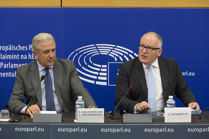 First Vice-President Timmermans and Commissioner Avramopoulos during the press conference