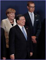 Special meeting of the European Council - José Manuel Barroso, Angela Merkel, German Federal Chancellor, and Alexander Stubb, Finnish Prime Minister © European Union
