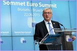 Jean-Claude Juncker at the podium during the Euro Summit press conference © European Union