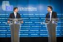 Mr Valdis DOMBROVSKIS, Vice President of the European Commission; Mr Jeroen DIJSSELBLOEM, Dutch Minister for Finance © The European Union