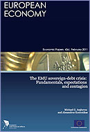 "Cover of the ""The EMU sovereign-debt crisis: Fundamentals, expectations and contagion, Economic Paper 436"""