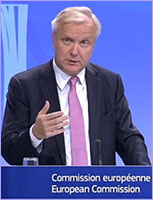 Vice President Rehn speaking at press conference © European Union