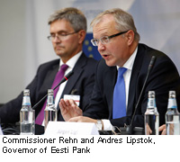 Commissioner Rehn and Andres Lipstok, Governor of Eesti Pank