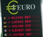 A table showing the exchange rates of 'old' European currencies to the euro