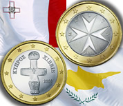 1-euro coins and flags from Cyprus and Malta