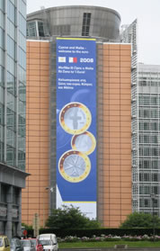 Berlaymont building with banner