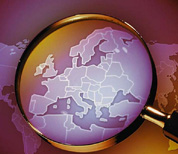 Magnifying glass over the map of Europe
