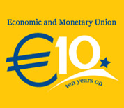Euro blue logo - 10 years on - yellow background