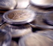Blurred image of pile of €2 coins