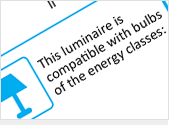 Luminaire compatible with bulbs classified in energy efficiency classes A++ to E