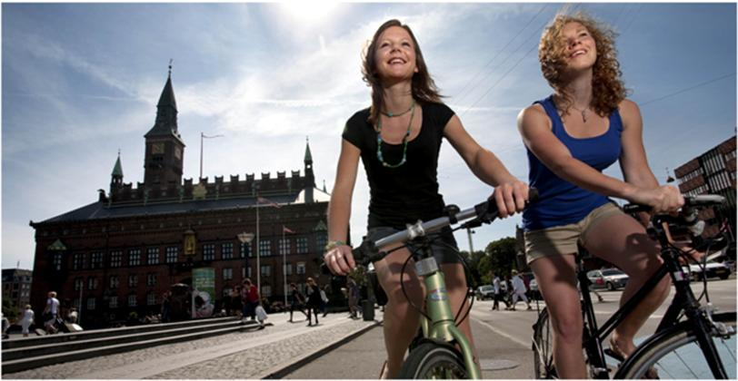 Copenhagen is considered the world's best city for cyclists; the large amount of people cycling greatly contributes to reducing emissions.