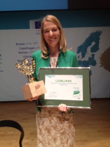 Tjasa Ficko, Deputy Mayor of Ljubljana accepts the European Green Capital Award