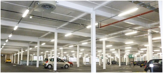 Car park installed with Eco-Park® induction fans at a supermarket in Elland, West Yorkshire, UK. Image courtesy of http://pveuk.com/