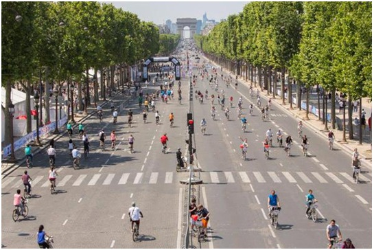 What the 'Day Without Cars' might look like on the main city routes of Paris. Image courtesy of www.paris.fr