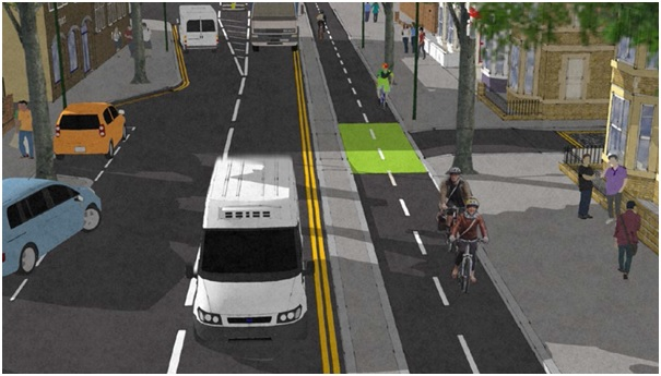 Artist's impression of proposed cycle lane construction in Nottingham. Image courtesy of Nottingham City Cycling Design Guide.