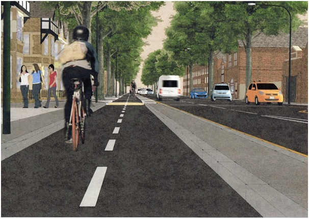 Part of the ambitious plans is segregated cycle lanes. Image courtesy of pedals.co.uk