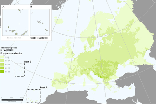 Distribution of endemic European freshwater fishes