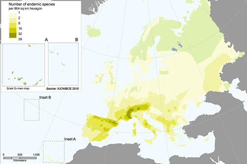 Distribution of endemic butterflies in Europe