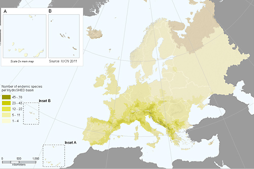 Distribution of endemic freshwater molluscs in Europe