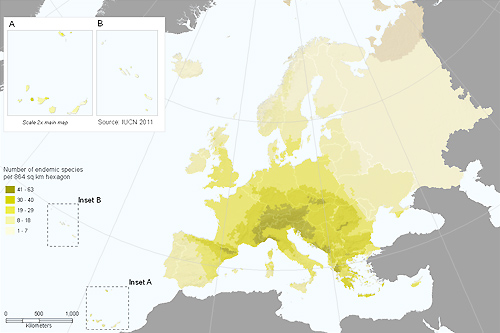 Distribution of endemic terrestrial molluscs in Europe