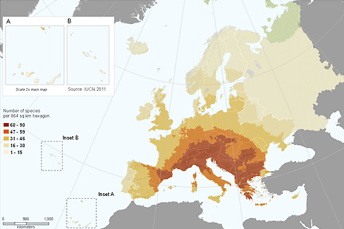 Species richness of terrestrial molluscs in Europe