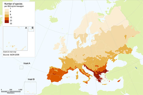 Species richness of European reptiles