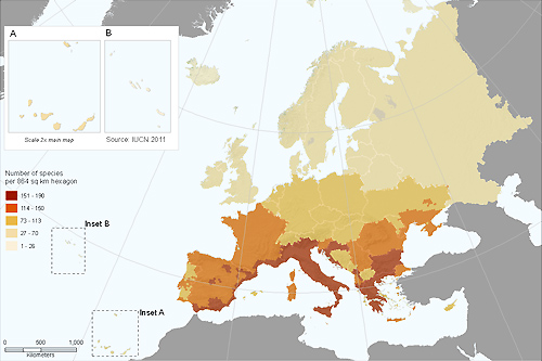 Species richness of European CWR (based on the sample included in the European Red List, excluding species assessed as Not Applicable and Data Deficient)