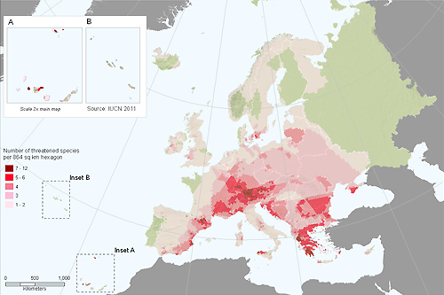 Distribution of threatened terrestrial molluscs in Europe