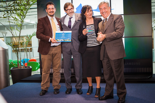 European Commissioner for Environment, Maritime Affairs and Fisheries, Karmenu Vella (right) with Juan Carlos Atienza and Asunción Ruiz of SEO/BirdLife and Arturo Larena Agencia of EFE – winner of the Citizens' Award.