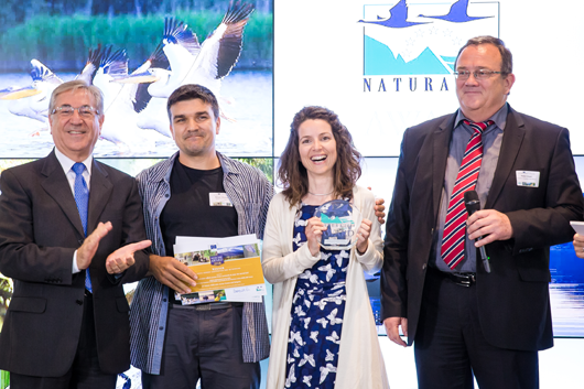 European Commissioner for Environment, Maritime Affairs and Fisheries, Karmenu Vella, Nikolov Stoyan from BSPB/BirdLife Bulgaria and Victoria Louise Saravia Mullin from the Hellenic Ornithological Society/ BirdLife Greece – winners of the 2018 Citizens' Award, and Roby Biwer, first Vice Chair of the Commission for the Environment, Climate Change and Energy for the Committee of the Regions and jury member.